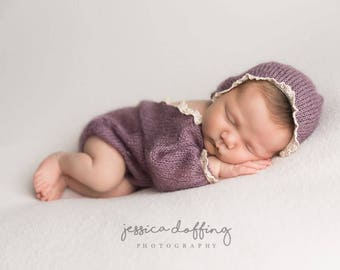Newborn prop set Knit mohair bonnet and onesie Long sleeve bodysuit Newborn photo prop Newborn photography Legless romper set Newborn romper