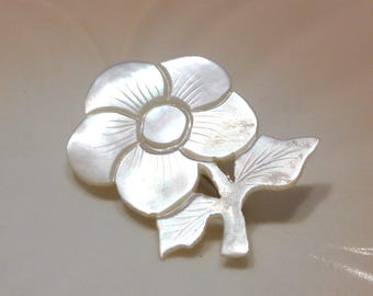Carved MOP Mother of Pearl Flower Brooch Pin