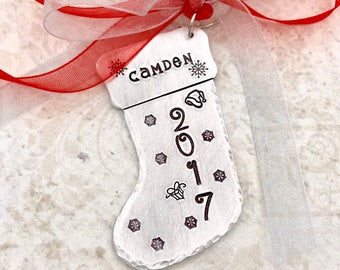 Christmas Ornament Personalized - Stocking Ornament - Kids Ornament - Boot Ornament - Childrens Ornament - Christmas Tree Ornament