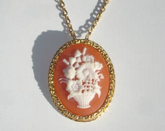 Vintage Cameo Pendant Necklace Brooch - Oval Flower Basket Charm Pin on Chain - Costume Jewelry