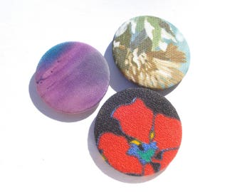 Fabric Badge Buttons - 80's Cloth Covered Pins - Set of 3 -  1980s