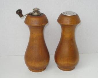 Vintage Baribocraft Wood Salt Shaker and Pepper Mill Grinder - Mid Century Modern - Wood Retro Kitchen 1960s