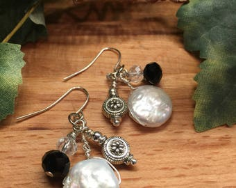 Earrings, Coin Pearl, Clear Czech Glass Bead , Black Czech Glass Bead, Hand wrapped Sliver Tone Flower Charm, Free shipping, USA, #60