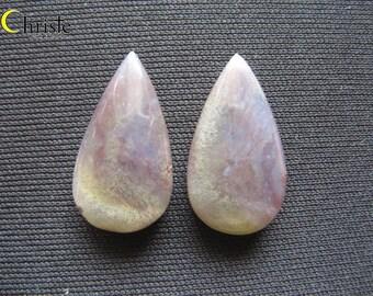 Natural dendritic quartz picture moss agate pear drop pair cabochon 9x25x4mm
