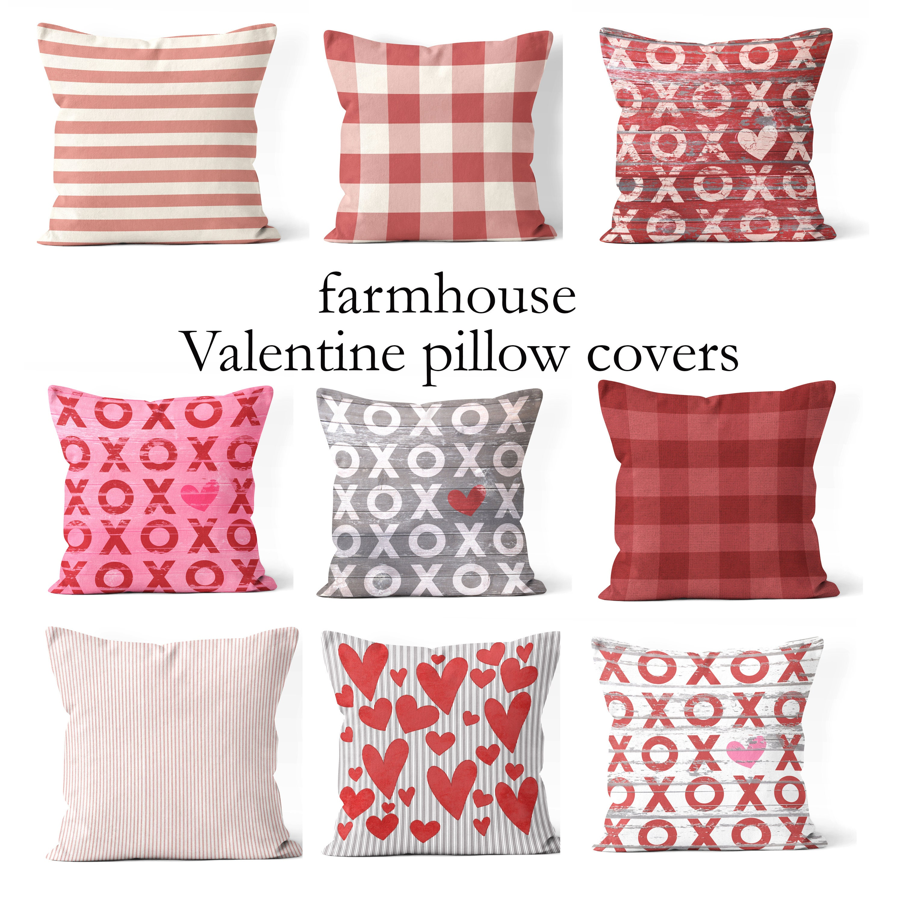 valentines day pillow covers 18x18 20x20 16x16 or 14x14 pink and red farmhouse valentine pillow covers valentines day decor