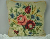 Vintage Needlepoint Pillow, Multi-Color Flower Bouquet, One of a Kind, Wool Needlepoint, 17 Inches Square, Shabby Cottage
