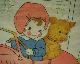 Vintage Hand Painted and Embroidered Cloth Panel, For Sewing, Vintage Unused, Child's Room Decor, Little Girl and Pet Dog in Pedal Car
