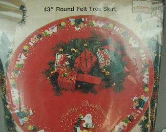 "Vintage Christmas Tree Skirt Kit, Bucilla Kit, For 43"" Round Felt Tree Skirt, The Pattern Name is ""We Saw Santa"", Original Packaging"