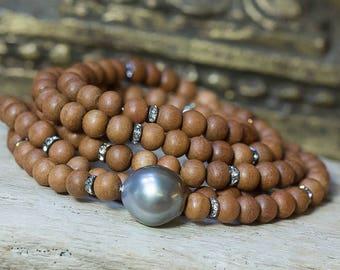 Wrap Bracelet, Pearl Bracelet, Multi Strand Bracelet, Tahitian Pearl, Wood Bracelet, Beaded Wrap Bracelet, Boho Bracelet, Stretch Bracelet