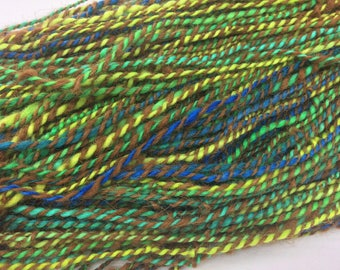 Handspun Art Yarn, Thick and Thin, Slow colour repeat, Self Striping, Polwarth, Alpaca, Hand Dyed, Blue Green, Brown, 2 Ply, Slub, Knitting