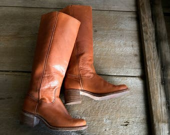 Frye Leather Riding Boots Rust Cognac Brown Size 7 US