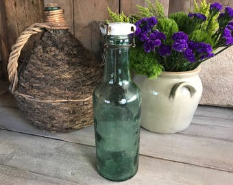 L'Ideale' Glass Conserve Bottle, Ceramic Lid, Aqua Green Glass Bottle, Extra Large 14 inch Size, Mason Glass, French Country Farmhouse