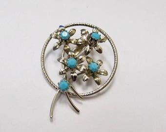 ON SALE Vintage Turquoise Floral Rhinestone Pin Item K # 2020