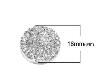 Silver 18mm resin druzy round cabochon