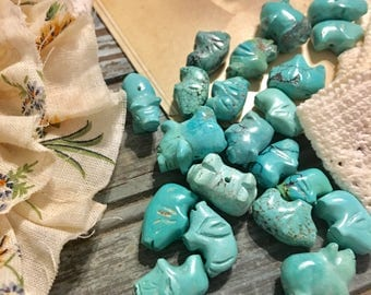 Turquoise Pig Beads in varying sizes