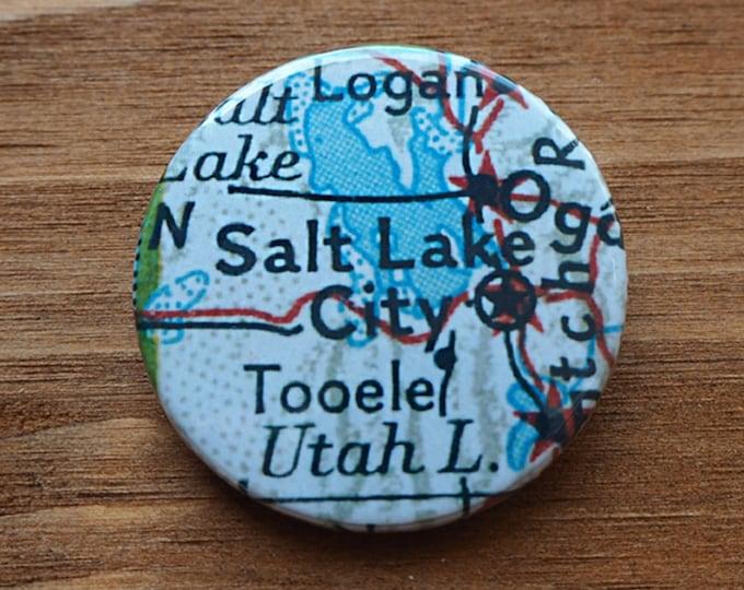 Pinback Button, Salt Lake City,, Ø 1.5 Inch Badge, Atlas, Travel, vintage, fun, typography, whimsical