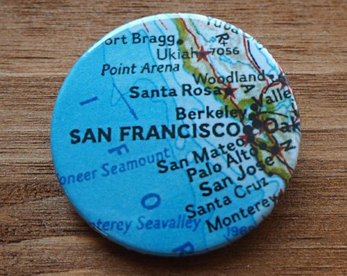 Pinback Button, San Francisco, Ø 1.5 Inch Badge, Atlas, Travel, vintage, fun, typography, whimsical