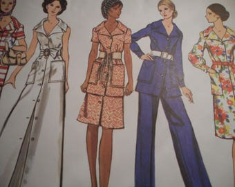 Vintage 1960's Vogue 2470 Basic Design Dress or Tunic Skirt and Pants Sewing Pattern Size 10 Bust 32.5