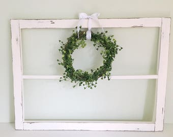 White Wooden Rustic Window Frame // Home Decor Antique // Farm Style  Decorations /
