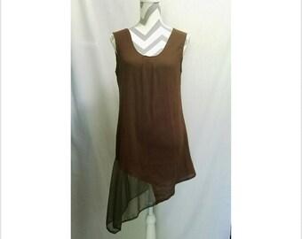Brown Green Light Sheer Babydoll Angled Dress