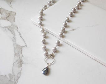 Hand Wrapped Gray Freshwater Pearl and Labradorite Eternity Ring Necklace. Gemstone Jewelry, Pearls, Eternity