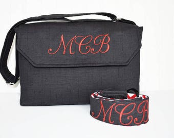 Personalized DSLR Camera Bag in Black and Red Chevron with Lens Pockets with Camera Strap Monogrammed Nikon Canon EOS or Digital