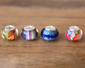 4 Colourful Glass 5mm Hole (3/16 Inch)