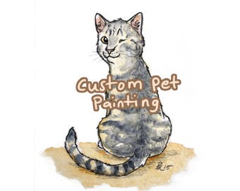Custom Postcard Size Watercolor Cat Painting - made to order