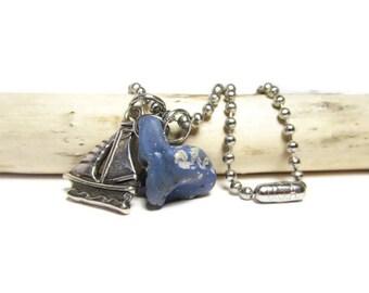 Sailboat Blues Leland Bluestone 30 In Necklace, Lake MI Glass Stone, Sailboat Charm, Stainless Steel, USA Chain, Authentic Bluestone, Unisex