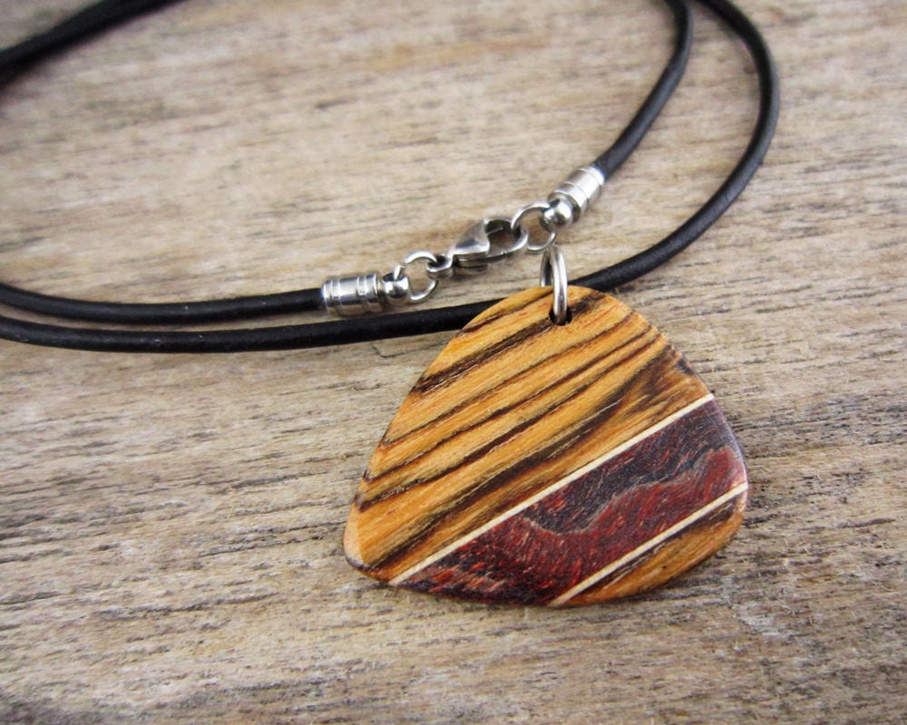 Very best Wood Guitar Pick Necklace, Mens Wooden Guitar Pick Pendant, Music  TE31