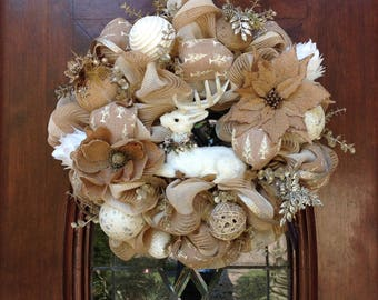Neutral Sitting Deer Wreath