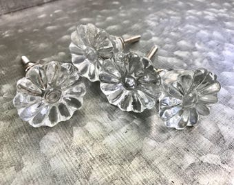 Clear glass flower shaped knobs pulls with screws and nuts - 4 knobs - vintage looking knobs - door drawer knobs pulls