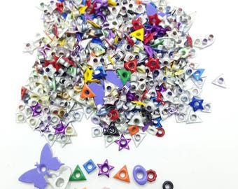 Variety of eyelets, star, flower, heart, butterfly, square, round eyelets, DESTASH, paper crafting supply