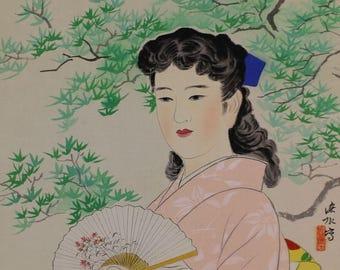 Japanese Fine Art Wall Hanging Scroll Painting Summer Beauty Beautiful Woman in Kimono Kakejiku – 1612077