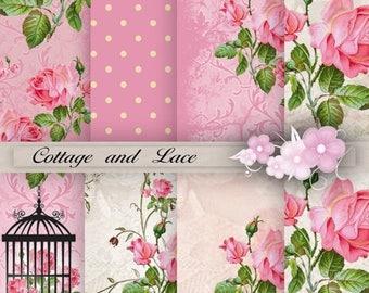 SALE Digital Background, Rose Digital Paper, Damask, Polka Dot, Floral, Pink Rose, Scrapbooking Paper, Printable Paper Pack P 58 D