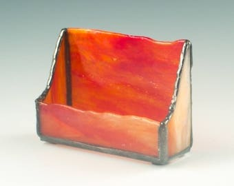 Modern Card Holder, Desktop Accessory, Cubicle Decor, Desk Organization, Stained Glass, Red and Orange, Unique Gifts for Coworker
