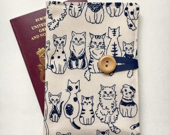 Passport cover case cute cats Kokka Japanese fabric wooden button