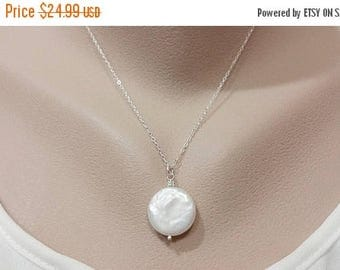 ON-SALE White Freshwater Coin Pearl Necklace - 17mm Coin, Genuine Pearl, Large Coin Pearl Necklace, Mom Jewelry, Sterling Silver