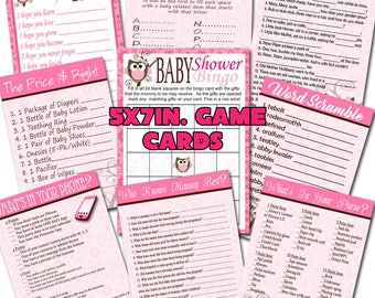 Baby Owl Baby Shower Game Card Set of 9 Shower Game  Digital File Instant Download