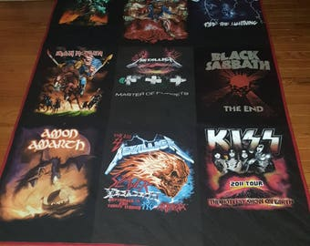 Custom Concert T-Shirt Quilt - Double sided -  Made to order