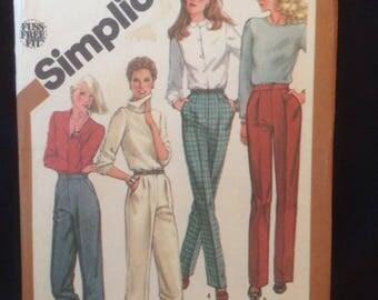 Fly Front Zipper Pants 1980s Simplicity Pattern 5205 Size 10 Uncut Factory Fold