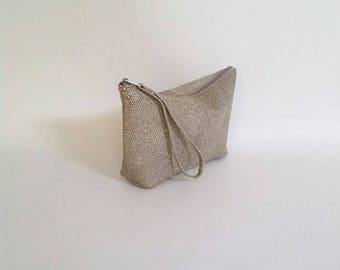 ON SALE Unique Textured Leather Bag with Wrist Strap, Wrist let Bags, Women Pouch Bags, Cosmetic Purse, Cosmos