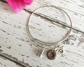 SALE: Perfect Saturday Morning Adjustable Silver Charm Bangle Bracelet for Dog Moms