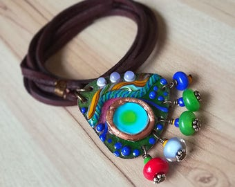 Blue Lagoon - Boho Unique Lightweight Necklace - Enameled Copper Art by Michou P. Anderson