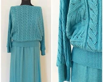Vintage Knit 2 Piece Set / Med/Large / Teal Knit Set