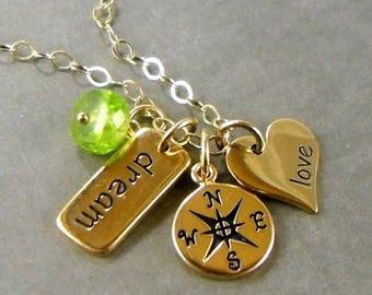 SALE College Graduation Gift Dream 2015 Compass Rose Love Graduation Jewelry College Personalized Initial Monogram Gold Birthstone G13