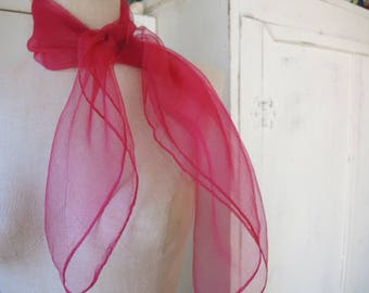 Vintage 1960s sheer nylon scarf cranberry made in Japan 27 x 27 inches