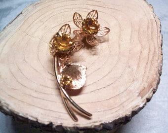 Vintage rhinestone flower brooch, vintage pin brooch