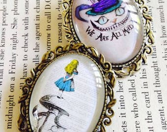 We're All Mad Here and Alice in Wonderland Large Oval Coat Brooch