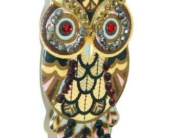 Owl Brooch, Brown Brooch, Ladies Pin